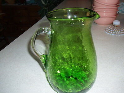 Gorgeous Crackle Glass Large Green Pitcher Applied Handle