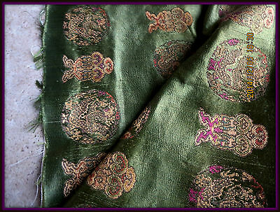 ANTIQUE 19th LUSH BUTTERY SOFT EMBROIDERED SILK FABRIC FRAGMENT