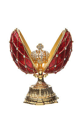 Decorative Faberge Egg / Grid with Russian Emperor's Crown 11.5 cm red