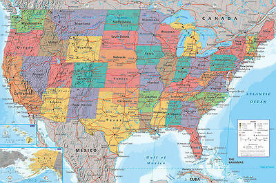 MAP OF USA LAMINATED POSTER '61x91cm, Educational' UNITED AMERICA Licensed NEW