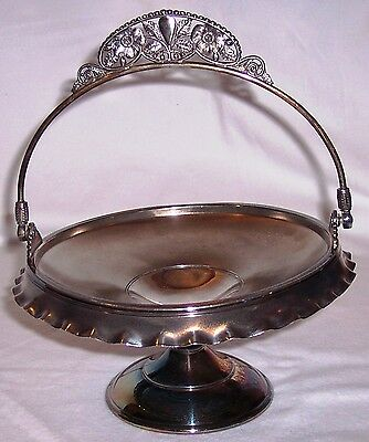 Pairpoint Victorian silver plate bride's basket ruffled rim ornate handle #1244