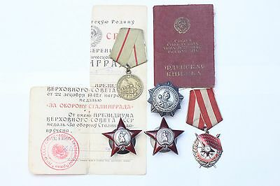 Russian USSR WWII Order Medal Group Khmelnitsky Red Star Red Banner + Document