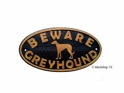 Greyhound & Motif Beware Of The Dog Sign - House Garden Plaque - Black/Gold