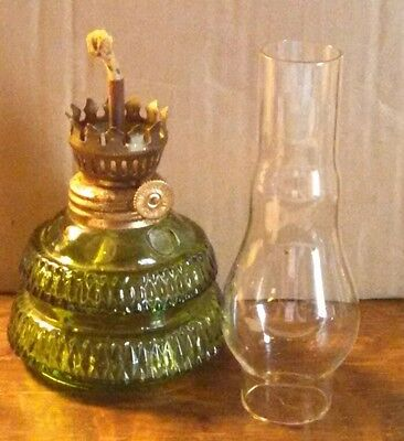Oil Lamp. Small. Olive Green Base w/Clear Chimney.