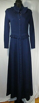 Vintage Roncelli Blue Maxi Flowy Sweater Dress Size Small