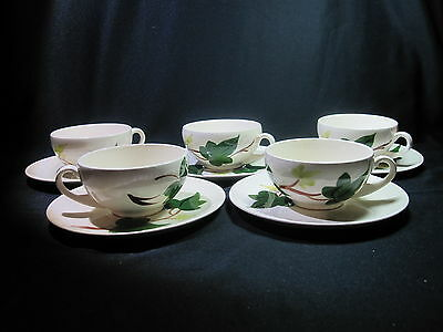 Blue Ridge Baltic Ivy Five (5) Cup and Saucer Sets