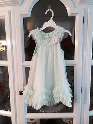 Nannette Baby Boutique Little Girls Dress Shirt 4T Light Teal with Pink Flower