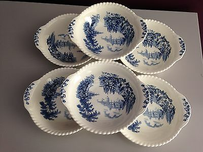 """Johnson Brothers """"Castle On The Lake"""" Blue Lugged Cereal Bowls"""