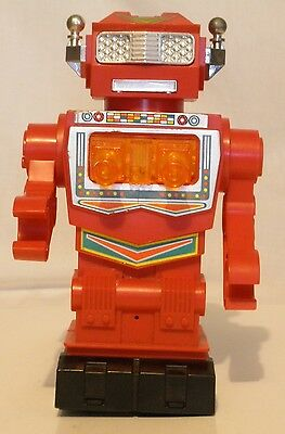 Vintage Red Robot Space Explorer Hong Kong Battery Operated Toy 10 Inches Tall