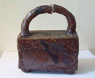 """Vtg-Antique """"WHIT"""" Sewer Tile Pottery Presentation Box w Handle - Repaired"""