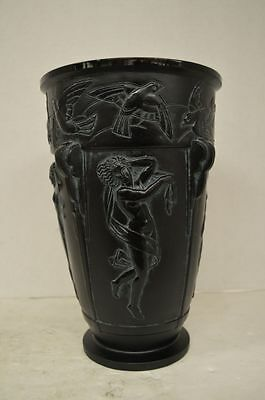 Sabino Black Art Deco Glass La Danse et Colombes Vase
