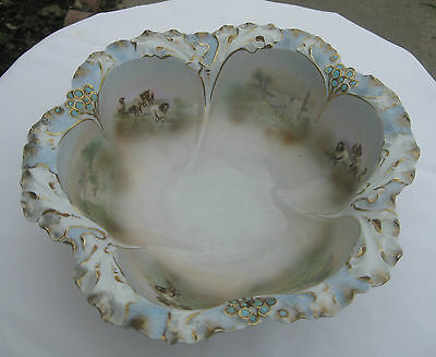 Gorgeous Large Royal Bayreuth Bowl Accented with Landscape and Sheep