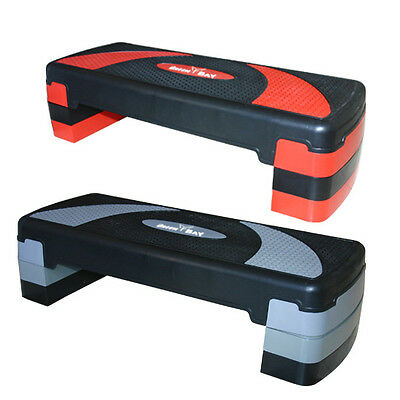 Red Grey Adjustable Aerobic Step Stepper 3 Level Height Yoga Board Home Exercise