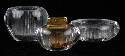 Daum French Mid-century Ice Crystal Art Glass 3 pc Smoking Set Cigarette Lighter