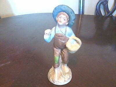 "7.5"" Porcelain Tom Sawyer Type Home Interiors Boy Figurine"