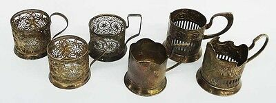 Collection of 6 vintage Russian silvered metal teacup holders - Circa 1940