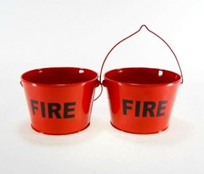 2pc Primitive Little Red Fire Buckets Pails Ashtrays Butts Cigarettes vintage