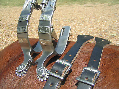 Cowboy Western Men's spurs WITH Black Leather STRAPS