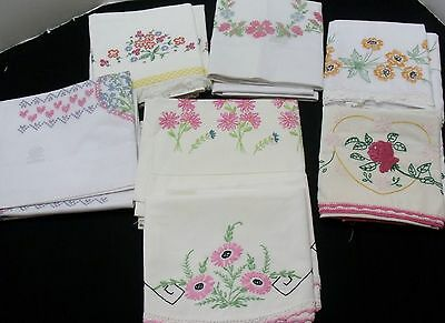 # 4  Lot of 7 Pair Vintage Embroidered Pillowcases  (1214 5)