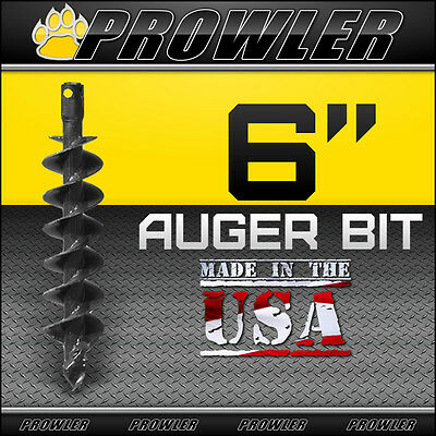 "6"" Auger Bit with Round Collar For Skid Steer Loaders 4' Length  - 6 Inch"