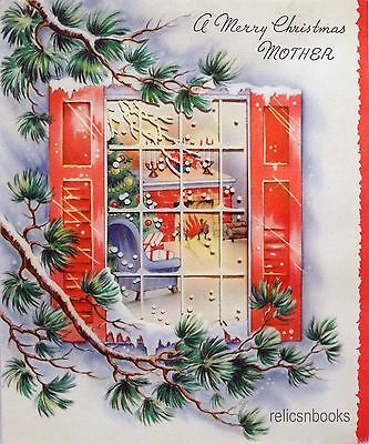#1066 50s Through the Window-Vintage Christmas Card-Greeting