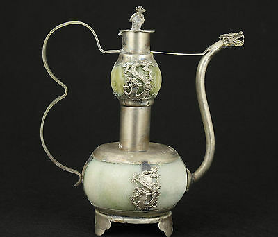 CHINESE OLD JADE COLLECTABLE HANDWORK ARMORED DRAGON TEA POT MONKEY LID ORNAMENT