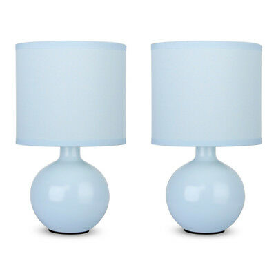 Pair of Contemporary Blue Ceramic Round Bedside / Lounge Table Lights Lamps