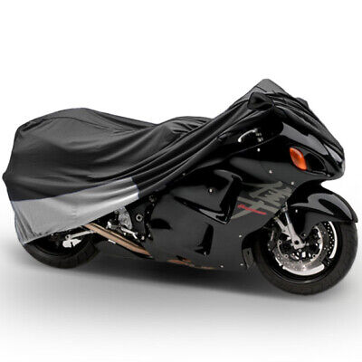 """Motorcycle Dust Cover Grey/Silver Large 90"""" Length Indoor Storage Protection"""