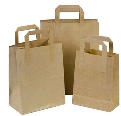 Paper Carrier Bags Kraft Brown  with Flat Handles Small Medium Large Takeaway