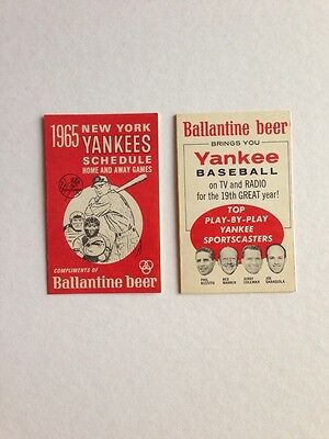 1965 New York Yankees Vintage Pocket Schedule Ballantine Beer
