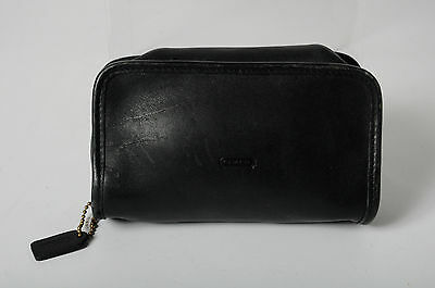 Coach Black Soft Leather Zip Around Small Cosmetic Bag