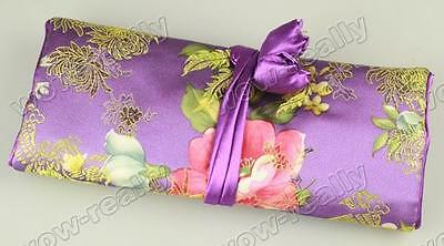 NEW PURPLE SILK JACQUARD JEWELRY TRAVEL BAG Roll Case Pouch Carrying Brocade BAG