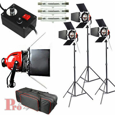 Upgrade 3x800W Red Head Continuous Studio Video light Lighting Kit + DIMMER+Bag