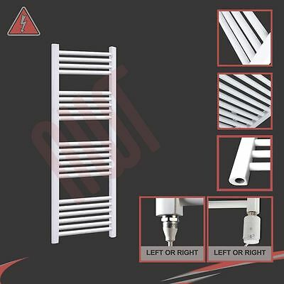 400mm(w) x 1200mm(h) Electric Straight White Heated Towel Rail Radiator 300W