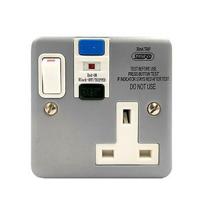 Metal 1 Gang Switched RCD Socket 30mA Passive Latching Single Tripfast