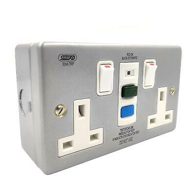 2 Gang Metal Switched RCD Socket 30mA Passive Latching Reset Test Wall Double