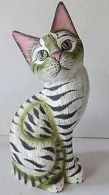 """8.5"""" REALISTIC ,STRIPED CAT TILTED HEAD WOOD FIGURINE, ,SIGNED BY ARTIST"""