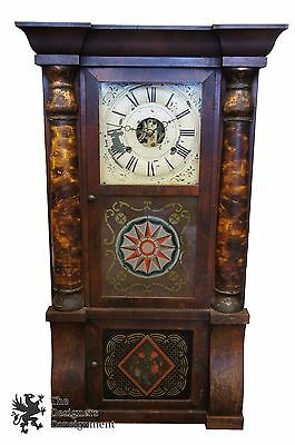 Antique Seth Thomas Triple Decker Mantel Clock Painted Glass 1860s Plymouth