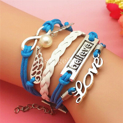 NEW fashion Infinity Love Believe Wing Leather Cute Charm Bracelet Silver A314