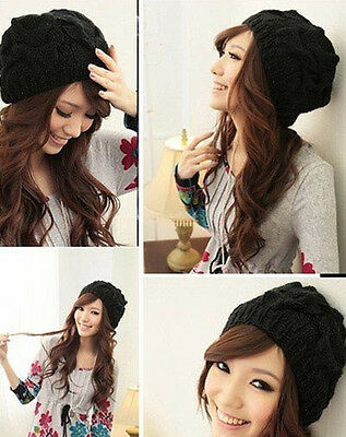 PF Womens Knit Crochet Ski Hat Winter Warm Braided Baggy Beret Beanie Cap Black