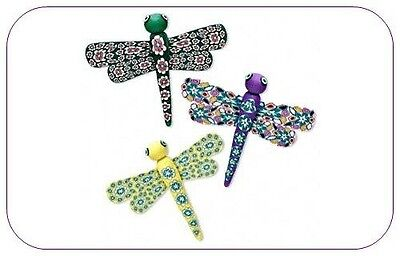 POLYMER CLAY DRAGONFLY MAGNETS Lot of 3 Bright Colors 54x52mm (2+ inch) Insect