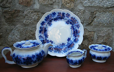 STUNNING REGISTERED GEFLE VINRANKA MADE IN SWEDEN FLOW BLUE TEA SERVICE