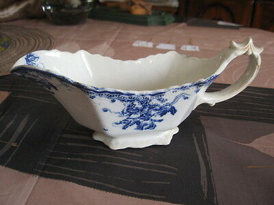 #222 ANTIQUE GRAVY BOAT DISH FLOW COBALT BLUE VERY OLD