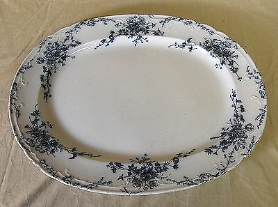 Large Antique Victorian Flow Blue Transferware Serving Platter Bridgwood & Son
