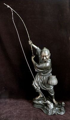 """JAPANESE 17"""" CAST BRONZE FIGURE OF A FISHERMAN, c. 1920's-1930's, SIGNED"""