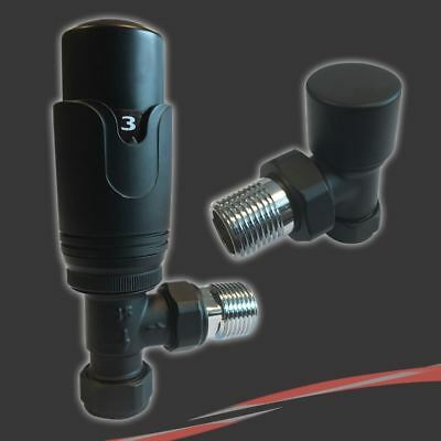 Thermostatic (TRV) Black Angled Valve Set for Radiators & Towel Rails (Pair)