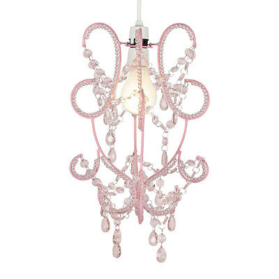 Modern Girls Pink Shabby Chic Ceiling Light Pendant Shade Chandelier Lampshade
