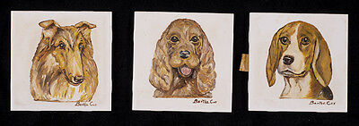 Dog Art Ceramic Tile Set Collie Cocker Spaniel Beagle Display Handpainted