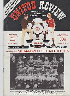 MANCHESTER UNITED v ARSENAL ~ MILK / LEAGUE CUP SEMI FINAL ~ 23 FEBRUARY 1983