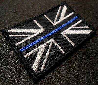 THIN BLUE LINE UK FLAG UNITED KINGDOM COP POLICE OFFICER BADGE SWAT IRON PATCH